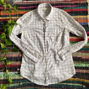 J. Crew The Perfect Shirt Gray and White Plaid Top